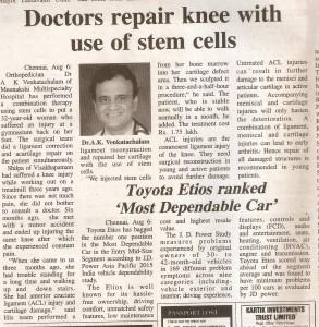 Cruciate ligament & cartilage repair India